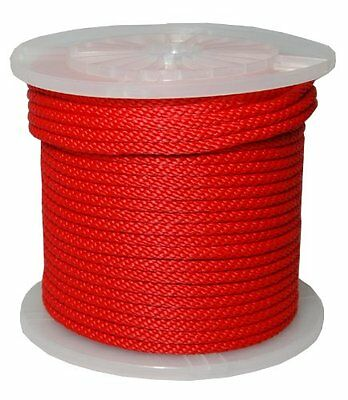 """3/8"""" By 300Feet Solid Braid Propylene Multifilament Derby Rope Red"""