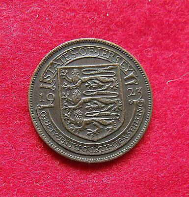 1923 George V Jersey Copper 1/24 shilling 1 Half Penny Britiish Coin 2nd Type