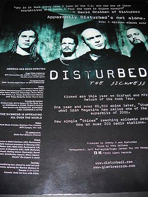 DISTURBED Kicked Ass On Ozzfest 2000 PROMO POSTER AD