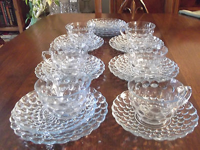 21 Pieces 1940's  Anchor Hocking Blue Bubble Glass 6 Cups 10 Saucers 5 Plates