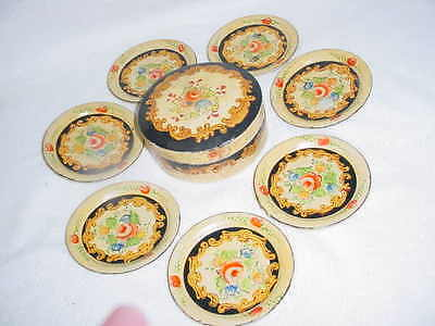 Antique Papier Mache Set Coasters - C1930  -  Alcohol Proof
