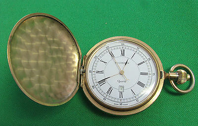 Bucherer Pocket Watch  made suiss Quarts  hunter case for parts or repair