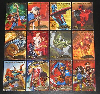 1998 Marvel Creators Collection EDITOR'S CHOICE Insert Set of 12 Cards NM/M MCC