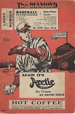 DETROIT TIGERS v NEW YORK YANKEES 1931 SCORECARD BABE RUTH LOU GEHRIG