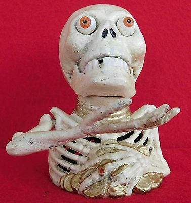 """NEW ITEM...Reproduction Cast Iron Painted """"Skeleton"""" Mechanical Bank"""