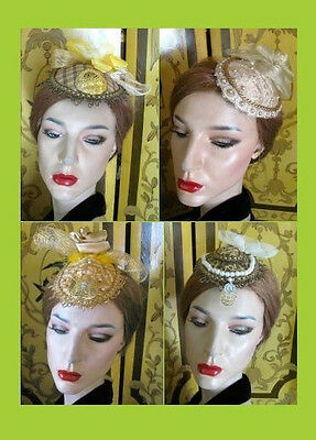Ladies One-of-a Kind Gold & Brown Fascinator Hat Unique Accents