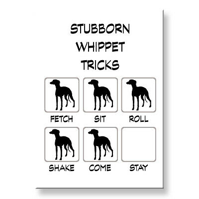 WHIPPET Stubborn Tricks FRIDGE MAGNET Steel Case Funny