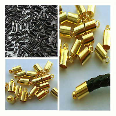 black & gold & Silver Plated Brass Barrel Cord End Caps 3mm/7mm Kumihimo Glue in