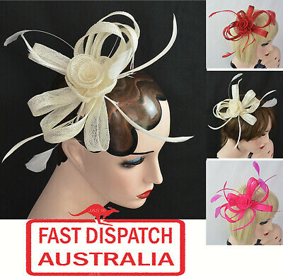 Melbourne Cup Spring Races Racing Carnival Clip or Headband Flower Fascinator