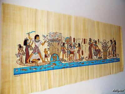 "XXXL Huge Signed Handmade Papyrus Egyptian KING Tutankhamun Painting 71""x26"" in"
