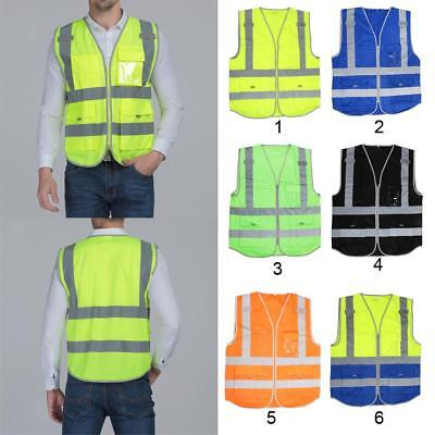High Visibility Safety Vest with Zipper Reflective Tape Strips 4 Pockets XL