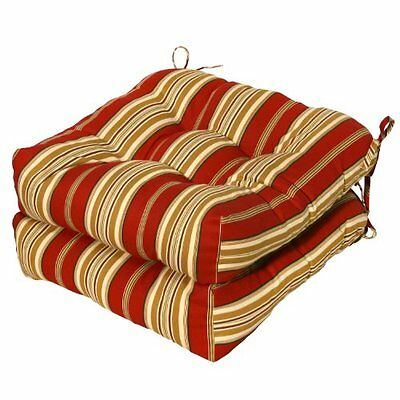 Greendale Home Fashions Set of Two, 20in Outdoor Chair Cushions, Roma Stripe NEW