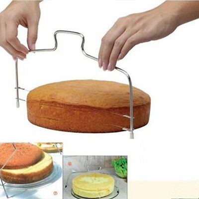 Adjustable 2 Wire Cake Slicer Pizza Leveler Dough Cutter Trimmer Stainless Steel