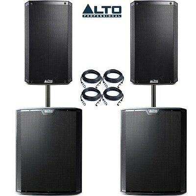 """Alto TS215 15"""" Speakers (Pair) and TS218S 18"""" Subwoofer (Pair) w/ Poles & Cables"""