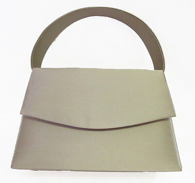 NEW Taupe Ladies Satin Handbag Purse Evening Bag Wedding Formal Bridal #7120