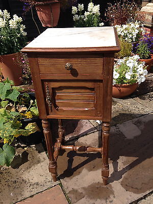 French antique pitch pine bedside cabinet/chevet C1900