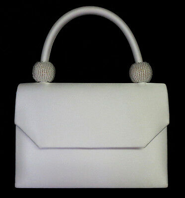 NEW Ivory Ladies Satin Handbag Purse Evening Bag Wedding Formal Bridal #6220