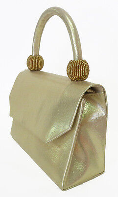 NEW Gold Ladies Satin Handbag Purse Evening Bag Wedding Formal Bridal #6220