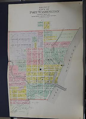 Wisconsin, Ozaukee County Map 1915 City of Port Washington, 2 Double Pages Q2#08