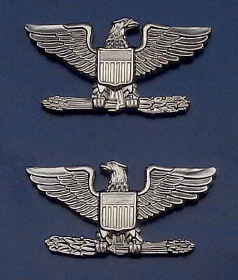 COL Colonel Eagle Birds Large Silver Pair Collar Pins Rank Insignia SAFETY CATCH