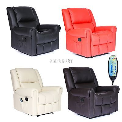 FoxHunter Leather Massage Cinema Recliner Chair Sofa Armchair Heating MLS-08 New