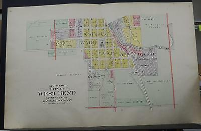 Wisconsin, Washington County Map 1915 City of West Bend, Two Double Pages! Q2#22
