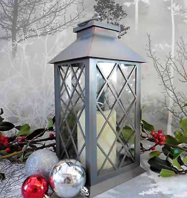 LED Flameless Flickering Candle Lantern Indoor/Outdoor Decor 34cmx14cm