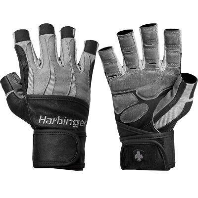 Harbinger 1310 BioForm Wristwrap Weight Lifting Gloves - Black/Gray
