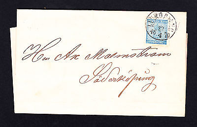 Sweden 12 Ore Stamp 12 -4 - 1870 Cover from Malmkoping to Soderkoping SG 8
