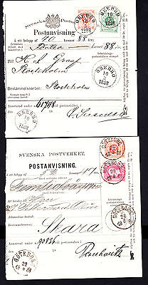 Sweden 1888 Post Office Receipts Goteborg & Orebro with 4 Stamps