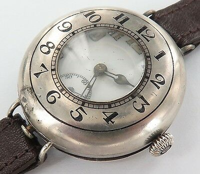 .WW1 c1917 STERLING SILVER HALF HUNTER TRENCH WATCH. A FIXER !!