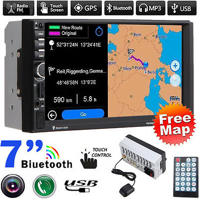 "Double 2 Din In Dash 7"" Car MP3 MP5 Radio Player GPS Navi Touch Bluetooth+Camera"