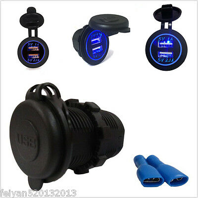 USB Dual Port 12V Universal Car Boat Charger Power Adapter With Blue LED Ring