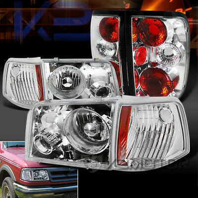 93 97 Ford Ranger Chrome Clear Projector Headlights Corner Lights Tail