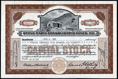 Nevada, Como Mining District: Stone Cabin Consolidated Mines, 25c shares, 1935