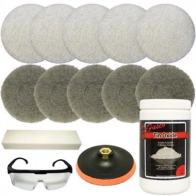 Lapidary Materials Tin Oxide Bundle with Backer Pad for Polishing
