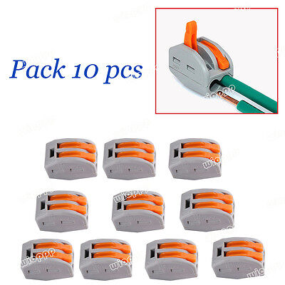10X Reusable Spring Lever Push Fit Terminal Block Electric Cable 2Wire Connector