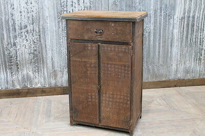 Vintage Industrial Cabinet Metal And Reclaimed Timber Old Cupboard Storage Unit