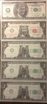 CLINTON CURRENCY $3 BILLS LOT OF 5 w/3 DIFFERENT