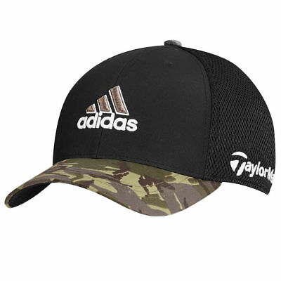 TaylorMade Adidas Golf Tour Mesh FlexFit Black/Camo Camouflage Fitted Hat Cap