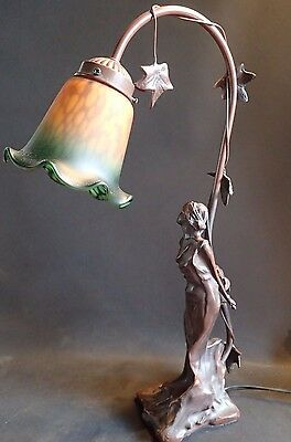 Art Nouveau Style Bronze Color Lady In Bondage Table Desk Lamp Extra Shade