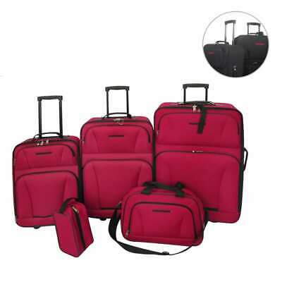 Black/Red 5 pcs Luggage Set Travel Carry on Bag Trolley Suitcase Cabin Wheel