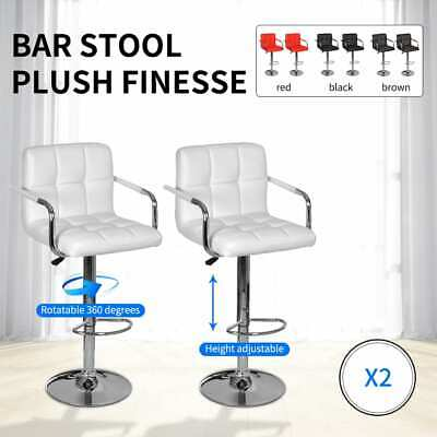 White/Black/Red/Brown 2 pcs PU Leather Bar Stool Kitchen Cafe Armchair Gas Lift