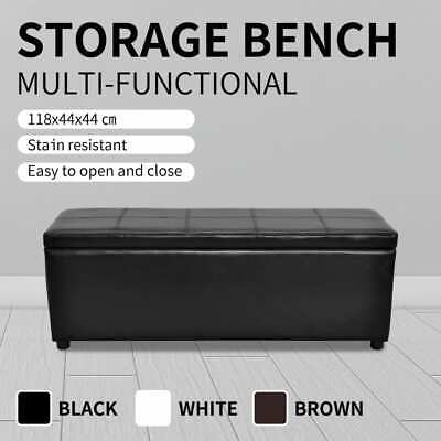 White/Black/Brown Storage Ottoman Bench Seat PU Leather Footrest Organizer 118cm