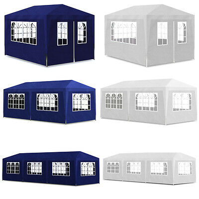 3 Sizes White/Blue Selectable Party Tent Gazebo Canopy Marquee Shade Wall
