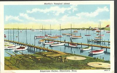 c1920 Martha's Vineyard Island Edgartown Harbor Massachusetts Postcard MA