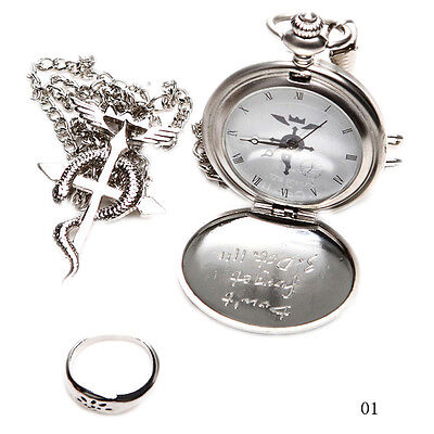 TRE Nice Charm Japan Cosplay Fullmetal Alchemist Pocket Watch Necklace Ring Set