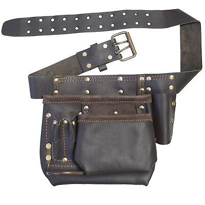 Oil Tanned Leather Tool Belt Mechanics DIY Heavy Duty Riveted Pouch Pockets
