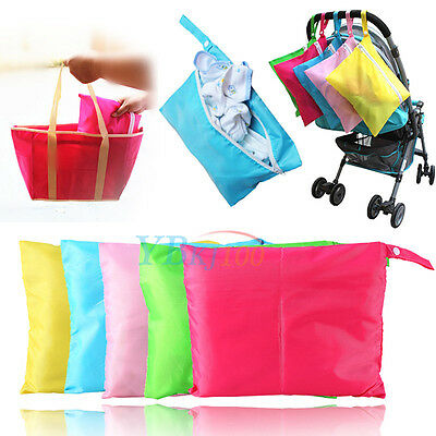 Large Waterproof Baby Zipper Cloth Diaper Nappy Wet Dry Bag Pouch Tote Handbag