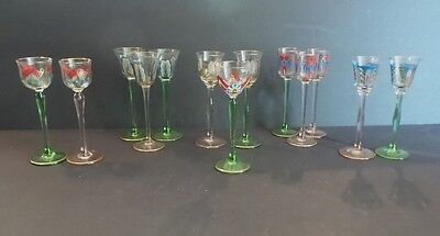 Group/13 Art Nouveau Enameled Glass Liqueurs by Myer's Neffe & Theresienthal